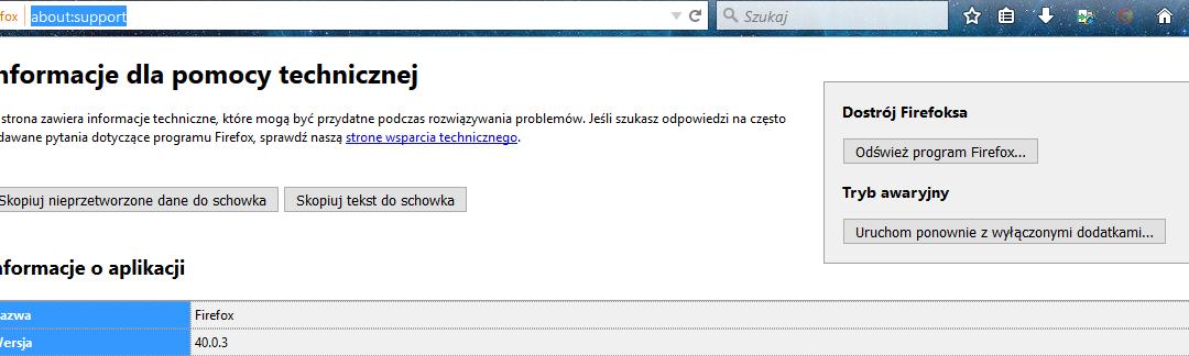 Firefox reset do ustawień domyślnych