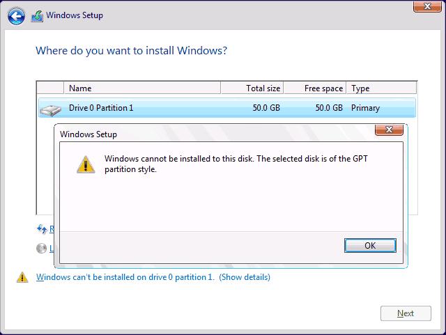 Błąd instalacja windows Partcja GPT